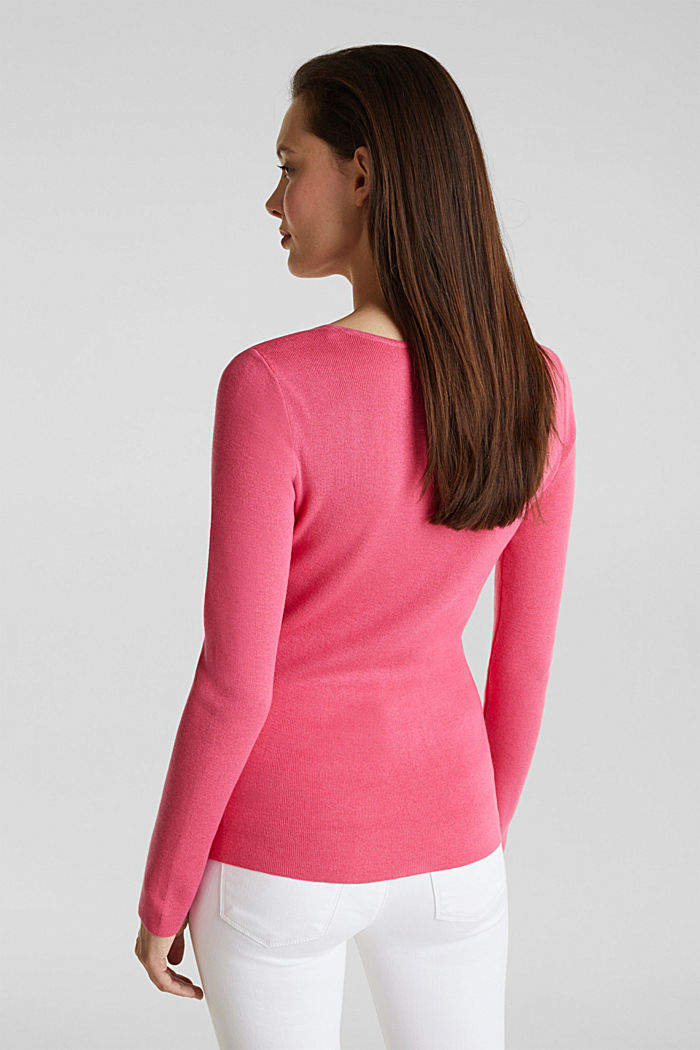 Cashmere blend jumper with a square neckline, PINK, detail image number 3