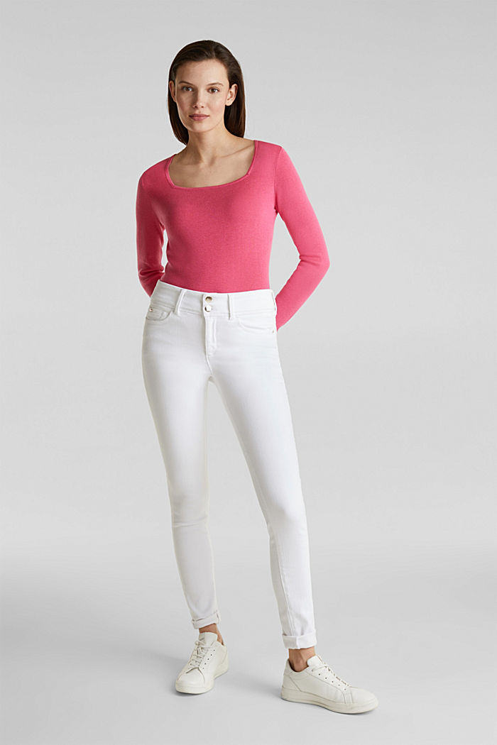 Cashmere blend jumper with a square neckline, PINK, detail image number 1