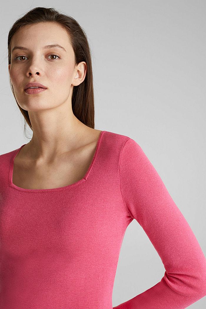 Karree-Pullover aus Kaschmir-Blend, PINK, detail image number 5