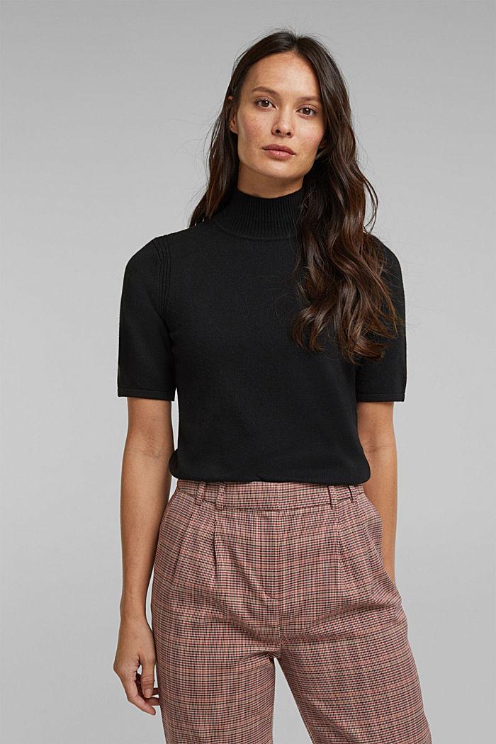 Short sleeve jumper with cashmere, BLACK, detail image number 0