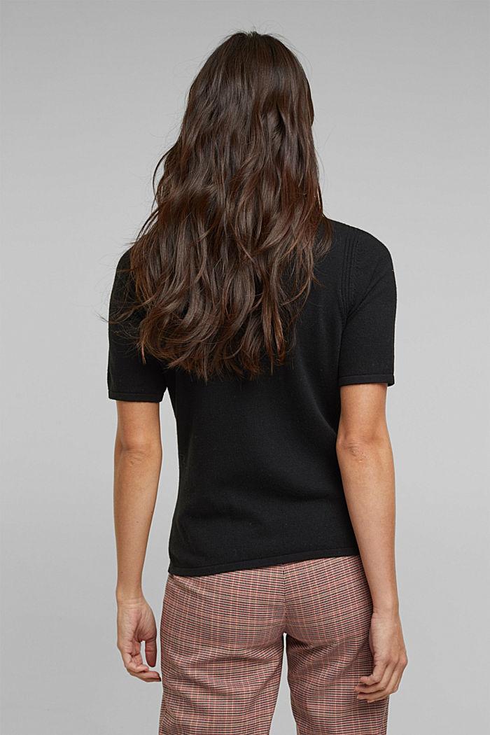 Short sleeve jumper with cashmere, BLACK, detail image number 3