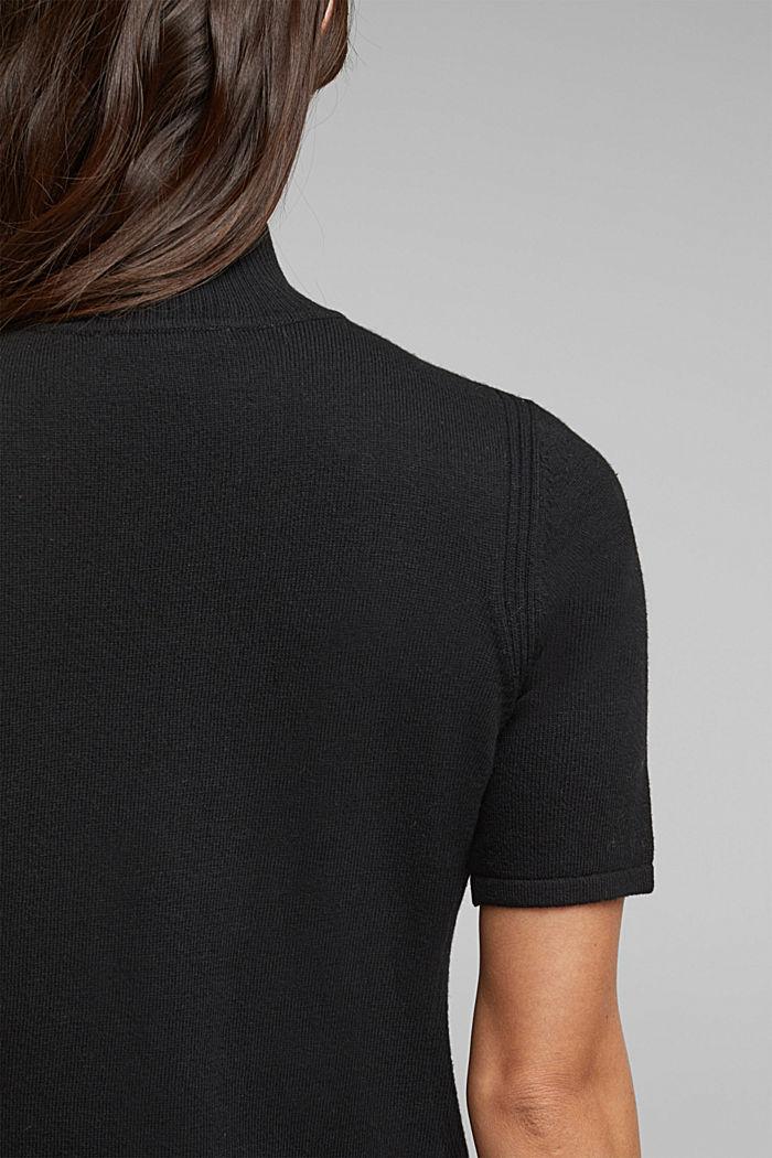 Short sleeve jumper with cashmere, BLACK, detail image number 2