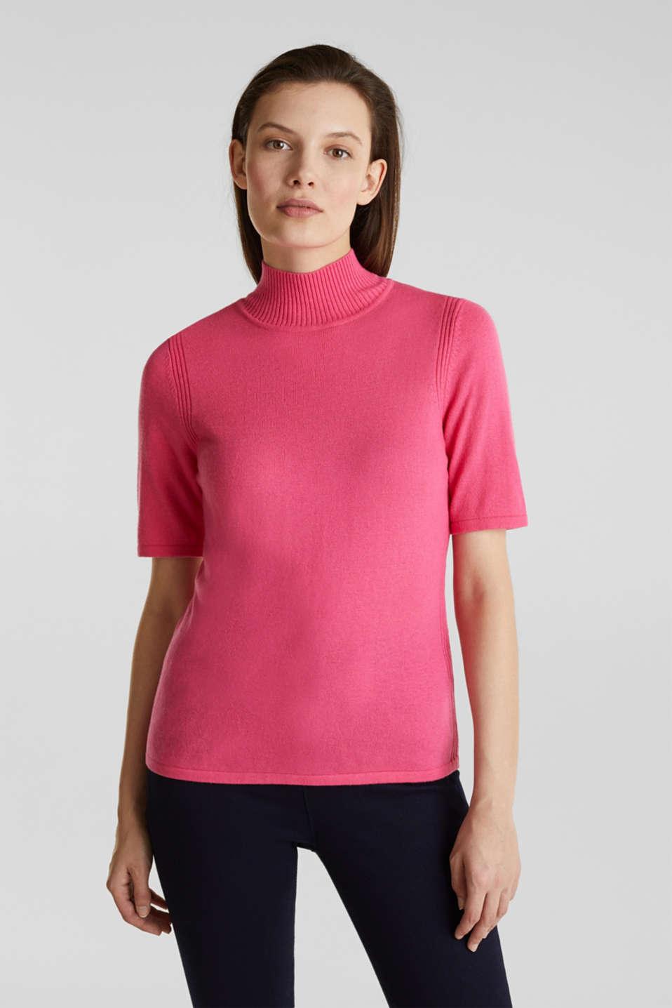 Short sleeve jumper with cashmere, PINK, detail image number 0