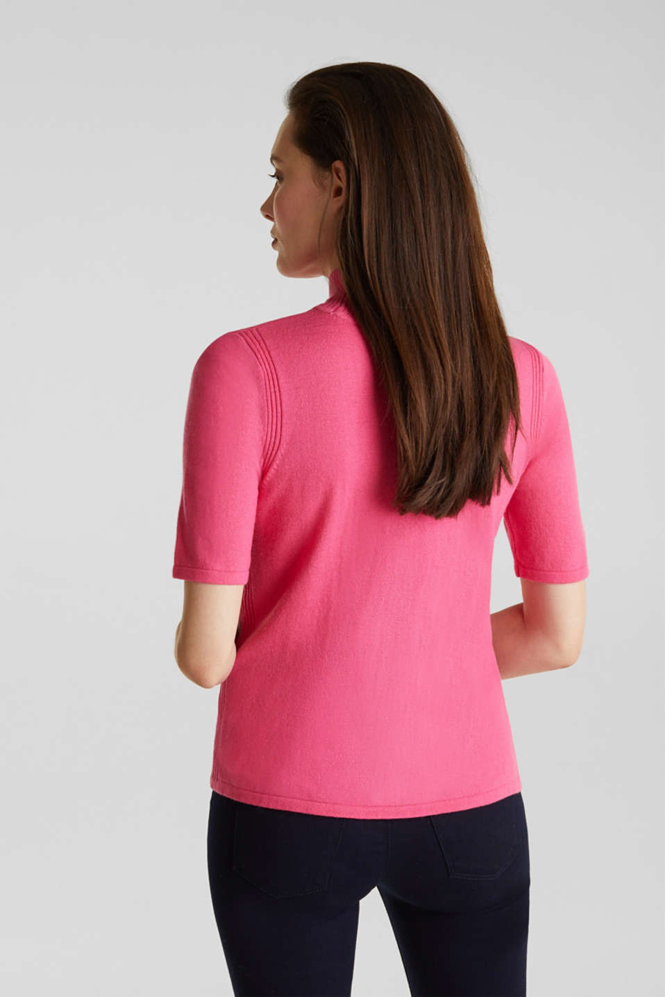 Short sleeve jumper with cashmere, PINK, detail image number 3