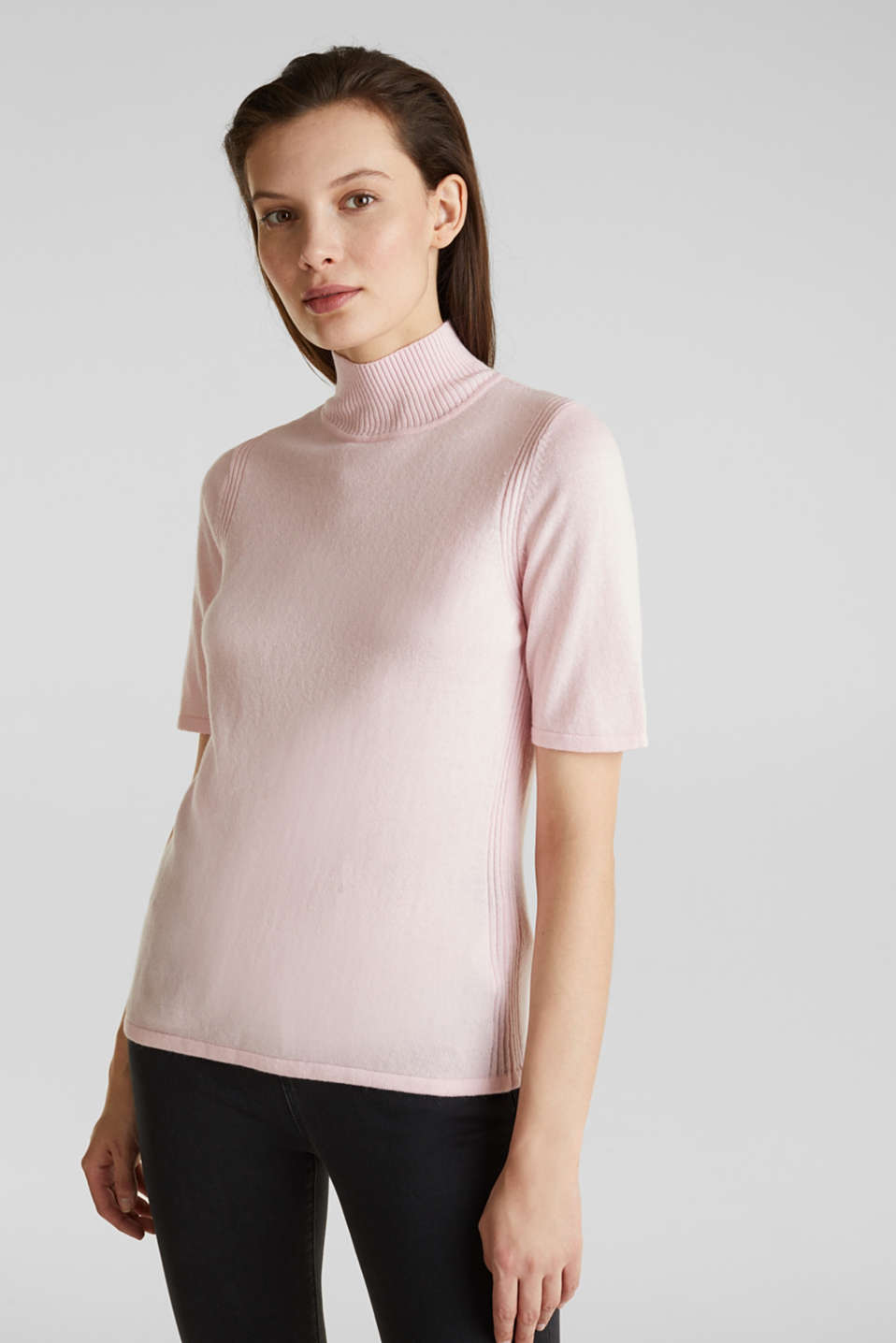 Esprit - Short sleeve jumper with cashmere