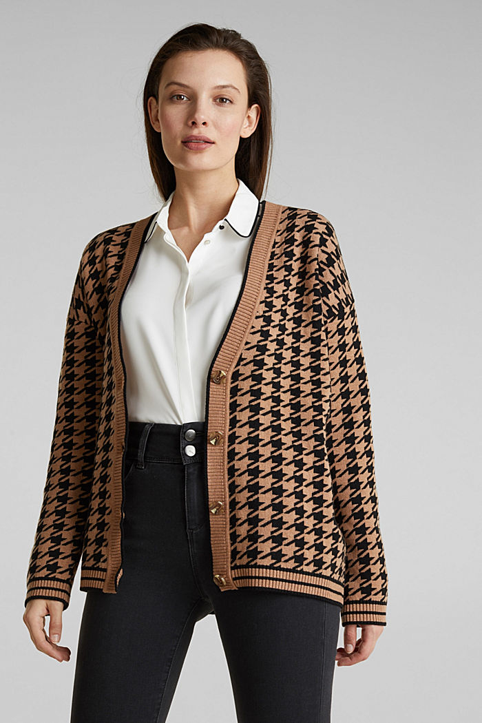 With cashmere: cardigan in an oversized look, CAMEL, detail image number 0