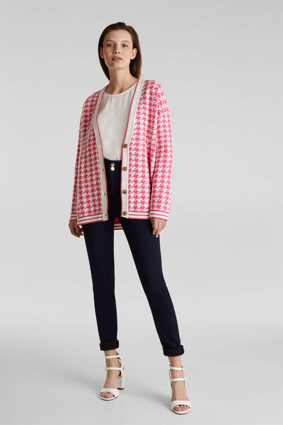 With cashmere: cardigan in an oversized look, PINK, detail image number 5