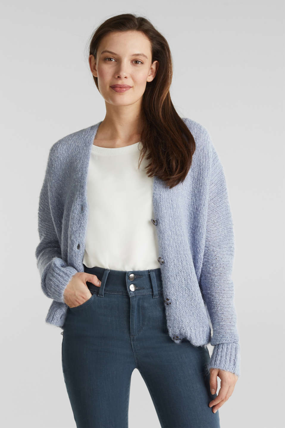 Alpaca blend: cardigan with batwing sleeves, LIGHT BLUE 5, detail image number 0