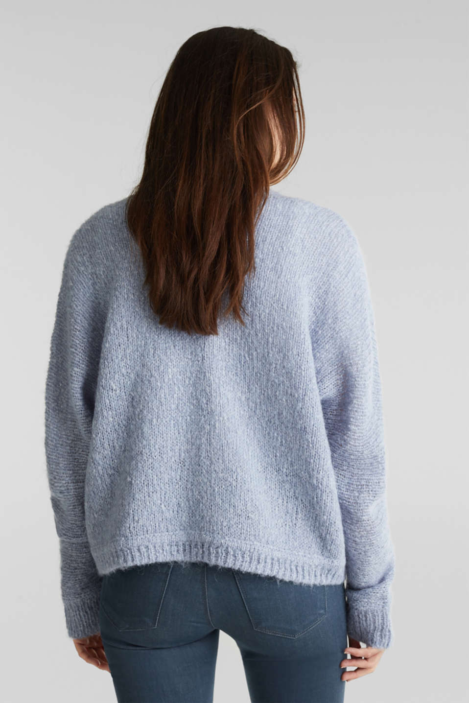 Alpaca blend: cardigan with batwing sleeves, LIGHT BLUE 5, detail image number 2