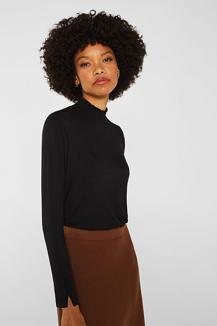 Stretch long sleeve top with a smocked collar, BLACK, detail image number 0