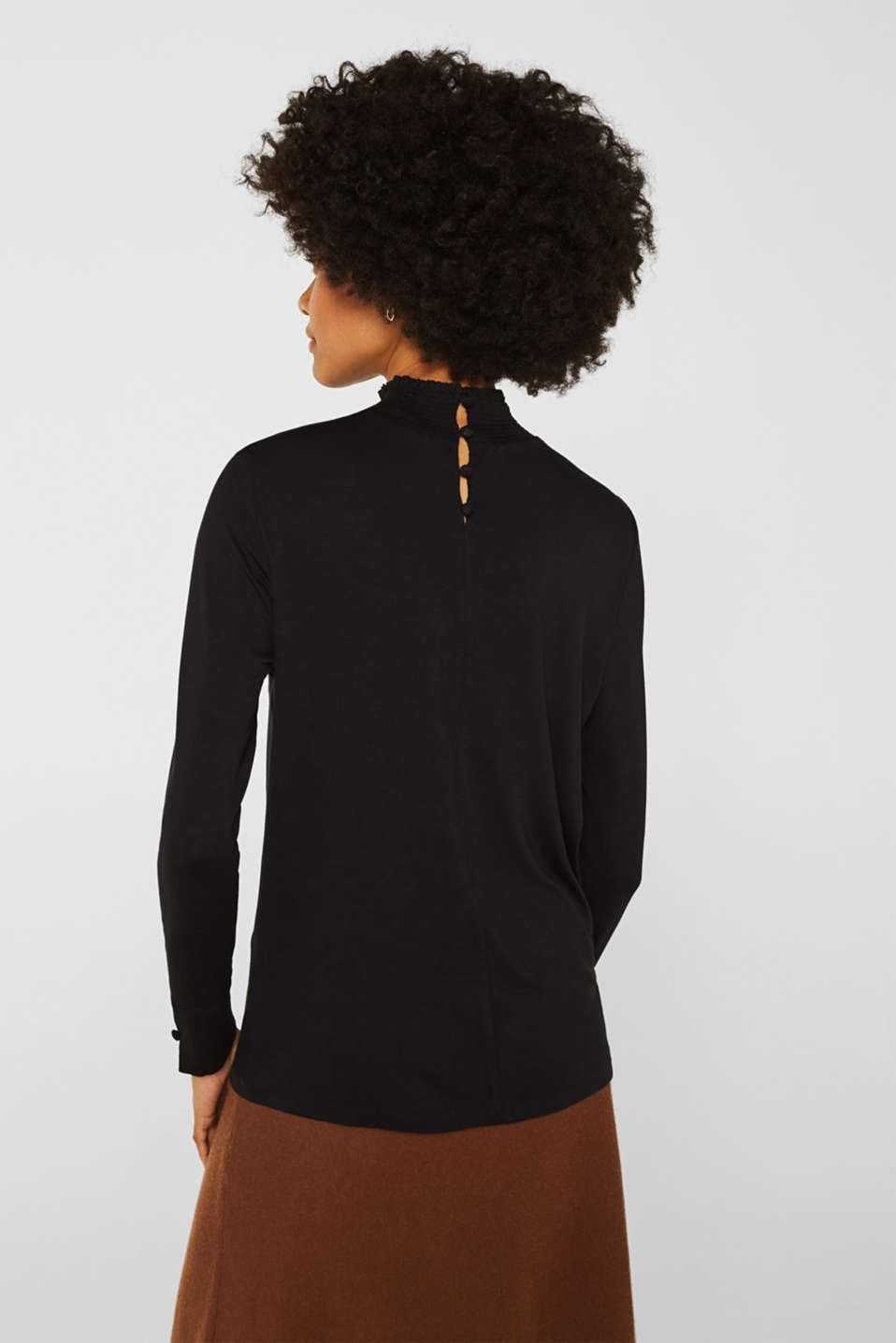 Stretch long sleeve top with a smocked collar, BLACK, detail image number 3