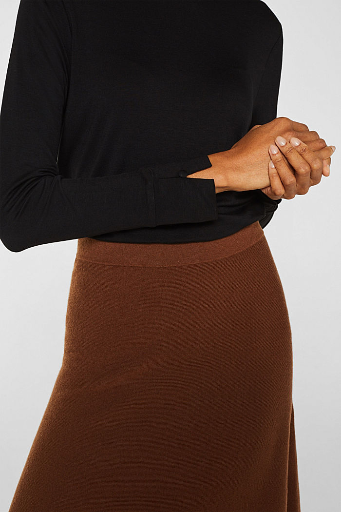 Stretch long sleeve top with a smocked collar, BLACK, detail image number 2