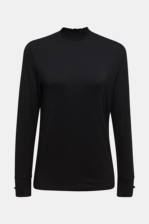 Stretch long sleeve top with a smocked collar