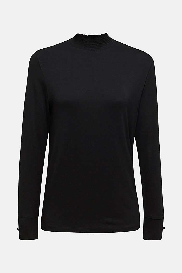 Stretch long sleeve top with a smocked collar, BLACK, detail image number 7