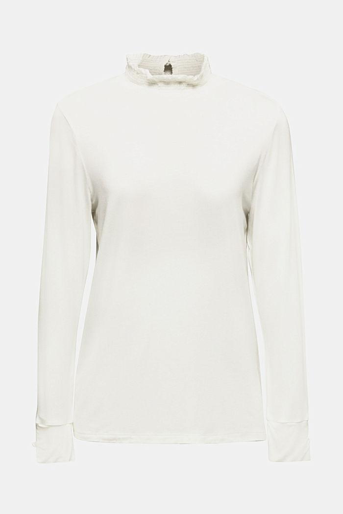 Maglia stretch a maniche lunghe con colletto arricciato, OFF WHITE, detail image number 0