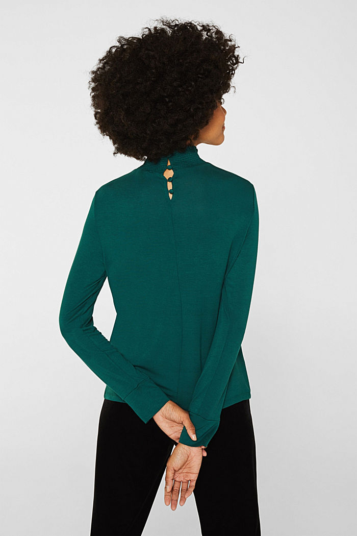 Stretch long sleeve top with a smocked collar, BOTTLE GREEN, detail image number 3
