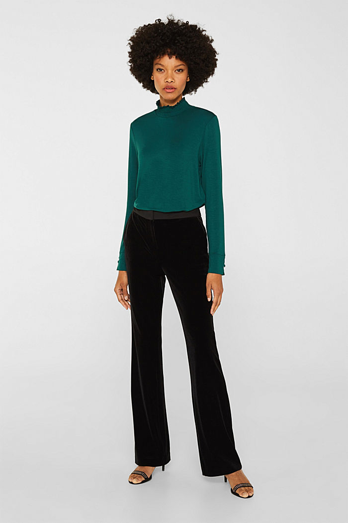 Stretch long sleeve top with a smocked collar, BOTTLE GREEN, detail image number 6