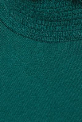 Stretch long sleeve top with a smocked collar, BOTTLE GREEN, detail