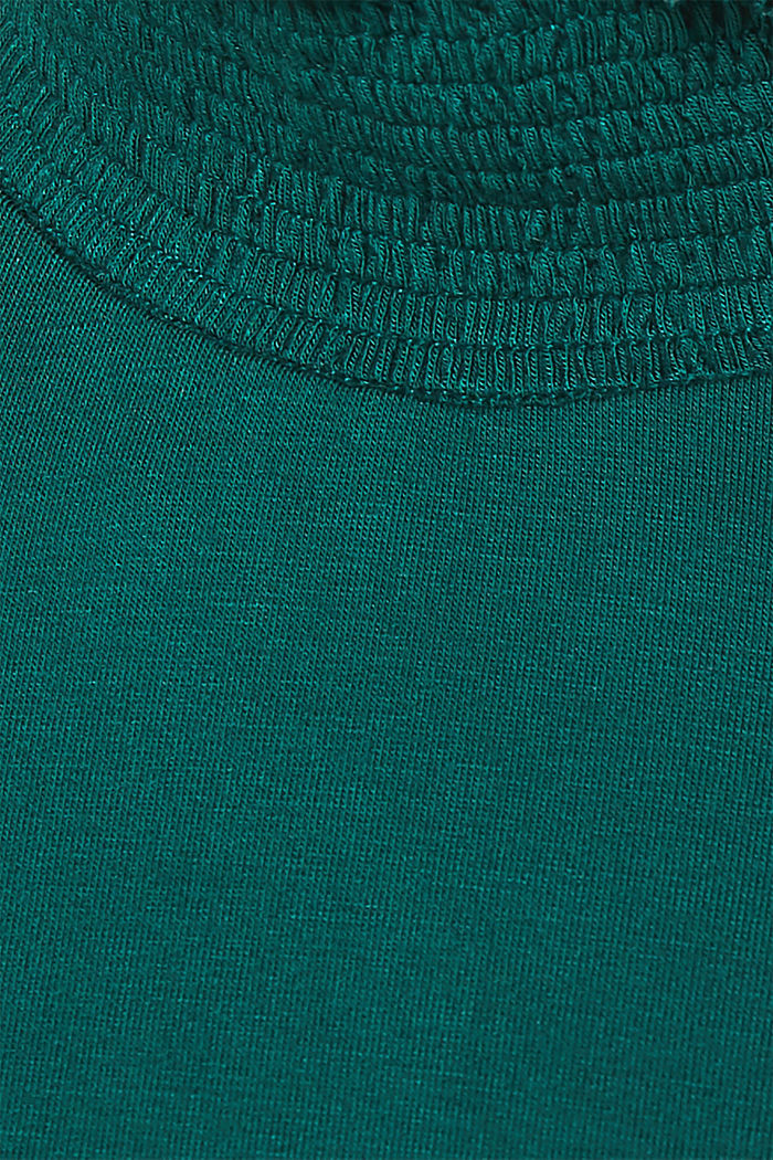 Stretch long sleeve top with a smocked collar, BOTTLE GREEN, detail image number 4