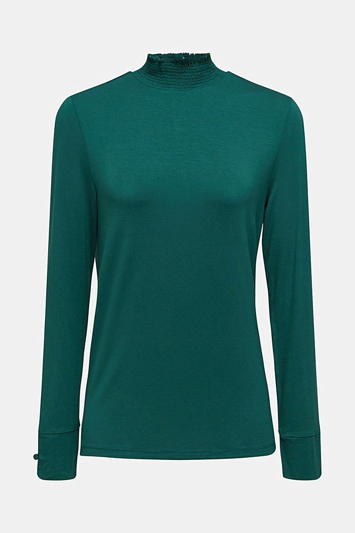 Stretch long sleeve top with a smocked collar, BOTTLE GREEN, detail image number 7