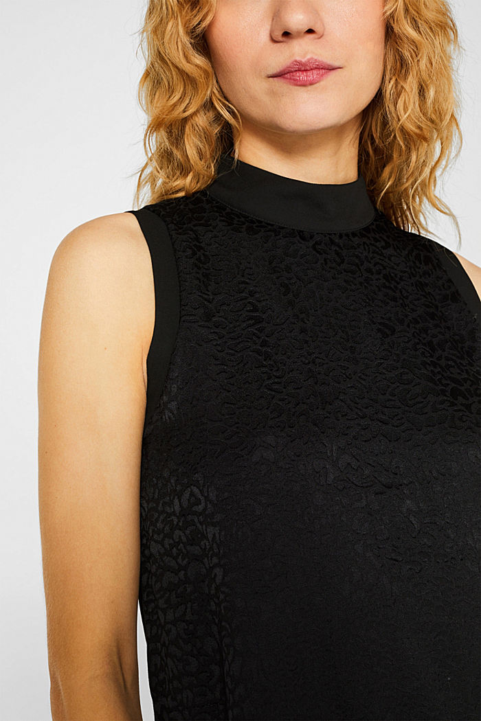 Blouse top with a leopard pattern, BLACK, detail image number 2