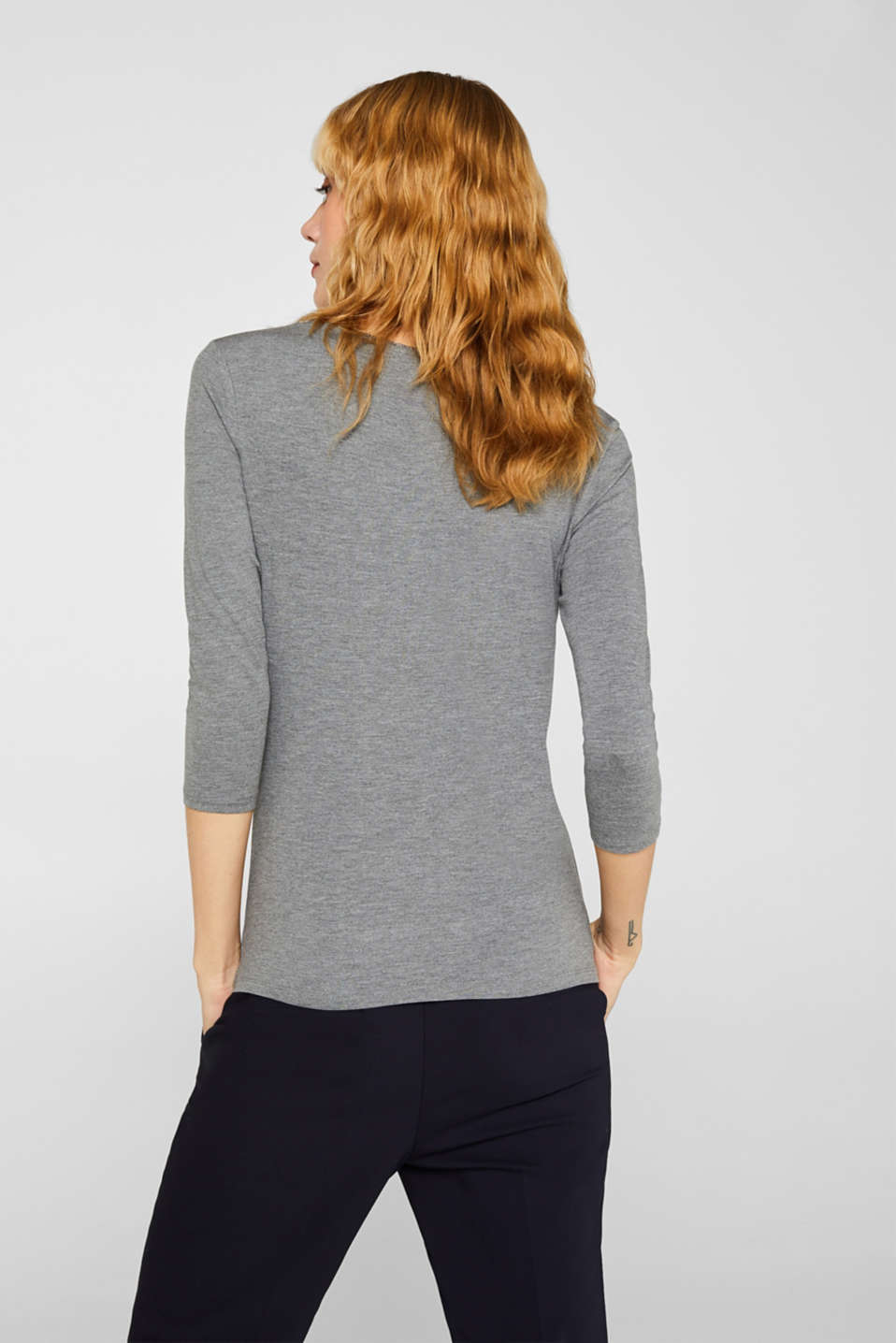 Stretch top with glittering piping, MEDIUM GREY, detail image number 3