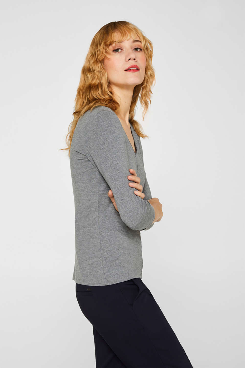 Stretch top with glittering piping, MEDIUM GREY, detail image number 5