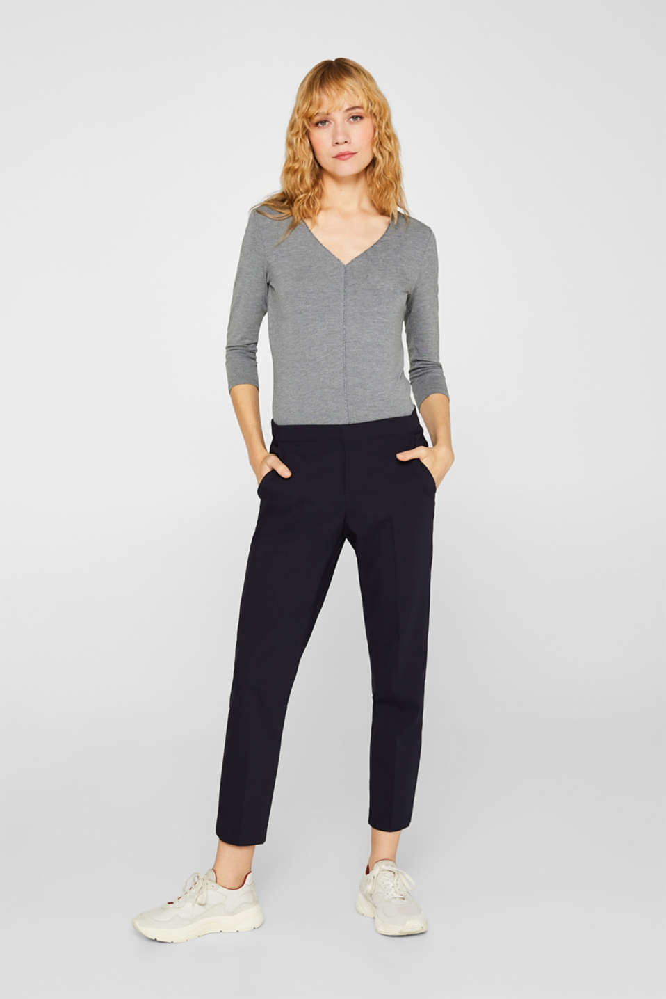 Stretch top with glittering piping, MEDIUM GREY, detail image number 1