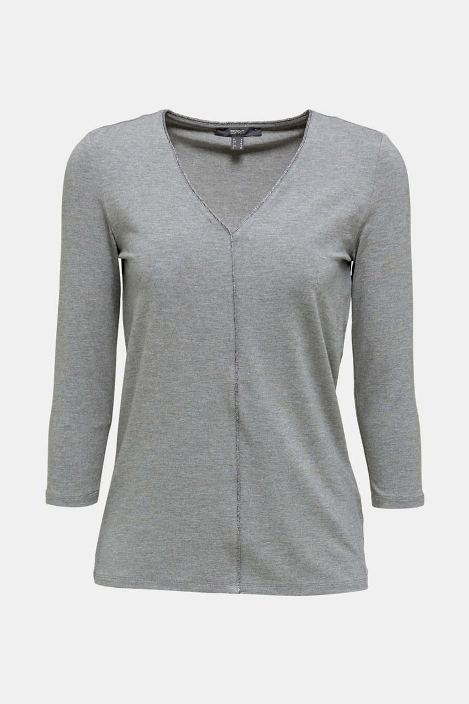 Stretch top with glittering piping, MEDIUM GREY, detail image number 6