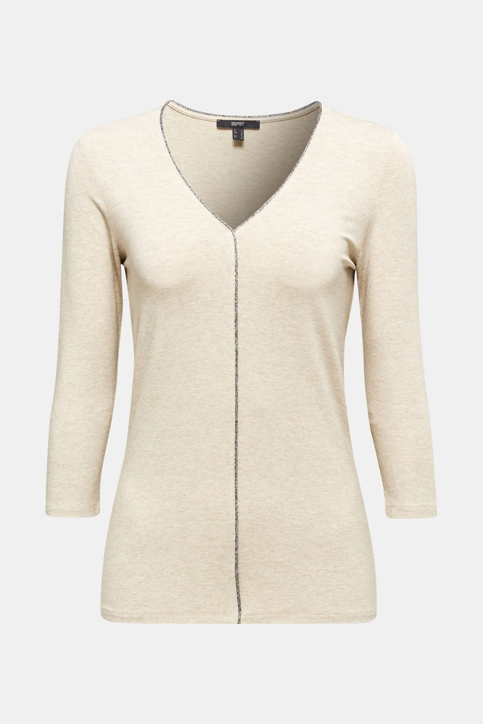 Stretch top with glittering piping, OFF WHITE, detail image number 5