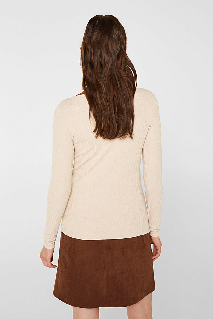Long sleeve stretch top with cable texture, SAND, detail image number 3