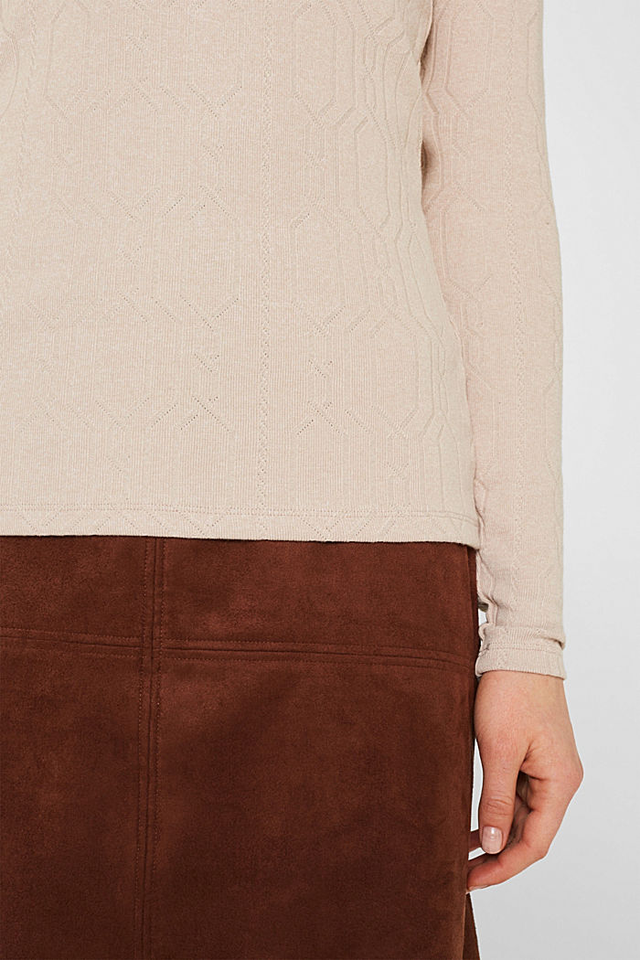Long sleeve stretch top with cable texture, SAND, detail image number 2