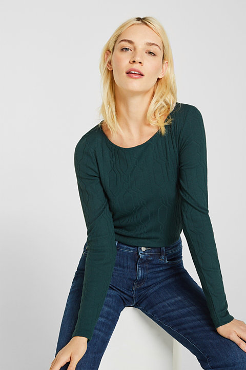 Long sleeve stretch top with cable texture