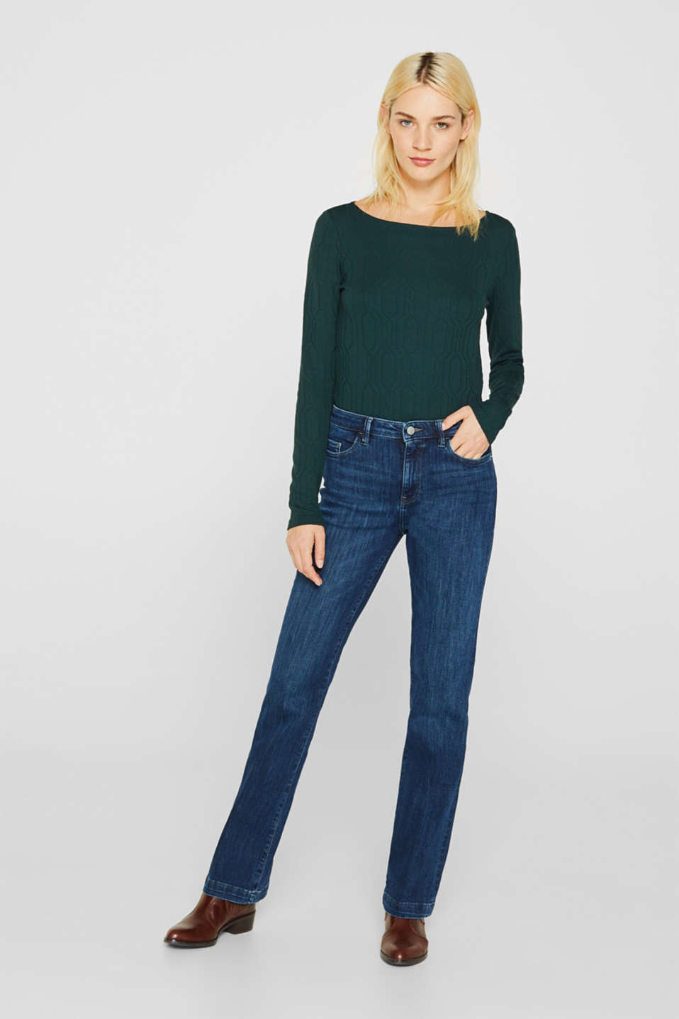 Long sleeve stretch top with cable texture, DARK TEAL GREEN, detail