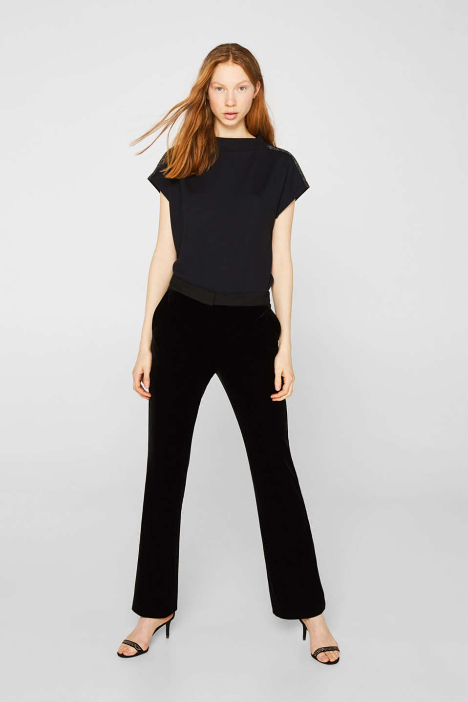 Stretch top with glittering tape, BLACK, detail image number 0