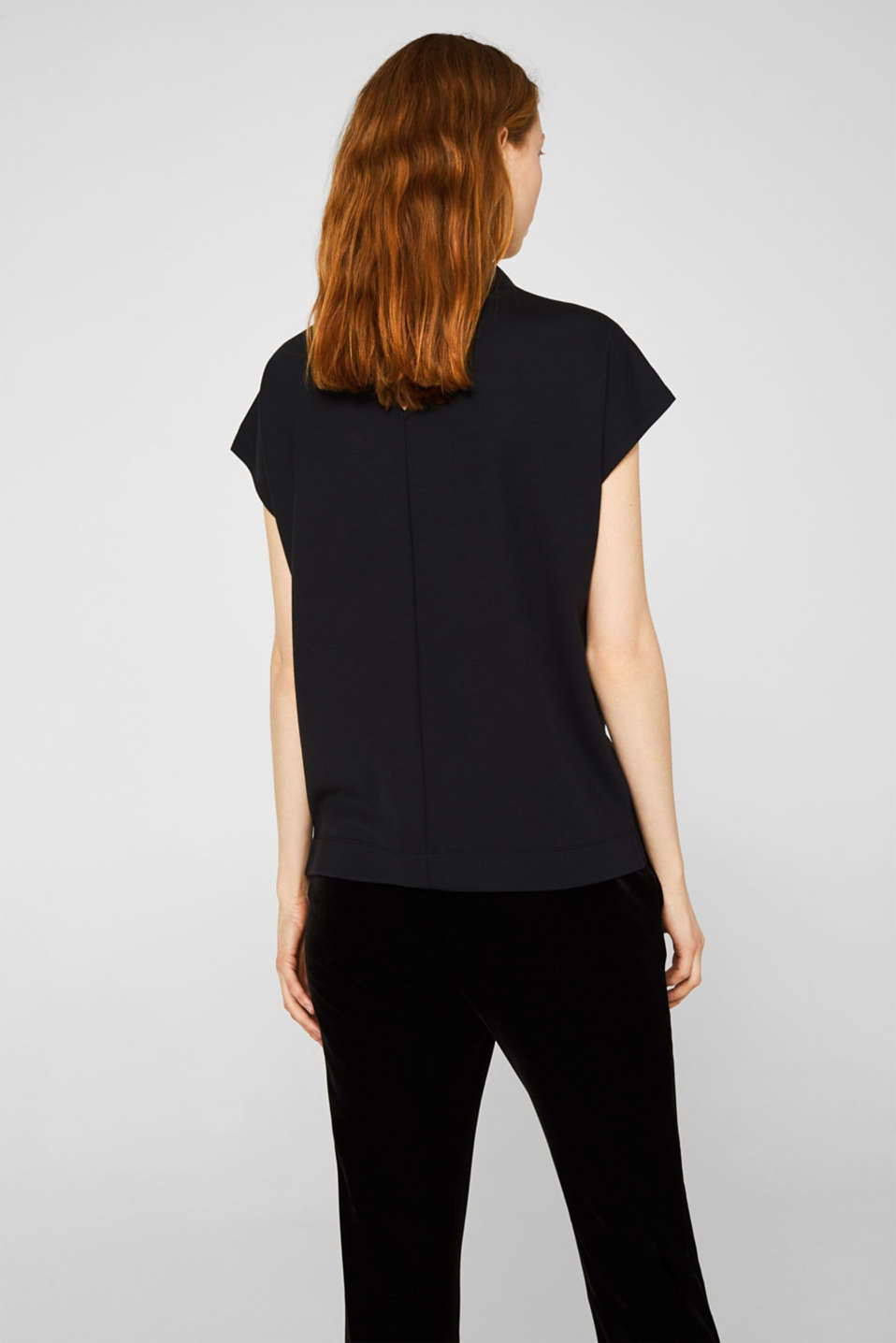 Stretch top with glittering tape, BLACK, detail image number 3