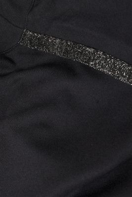 Stretch top with glittering tape, BLACK, detail