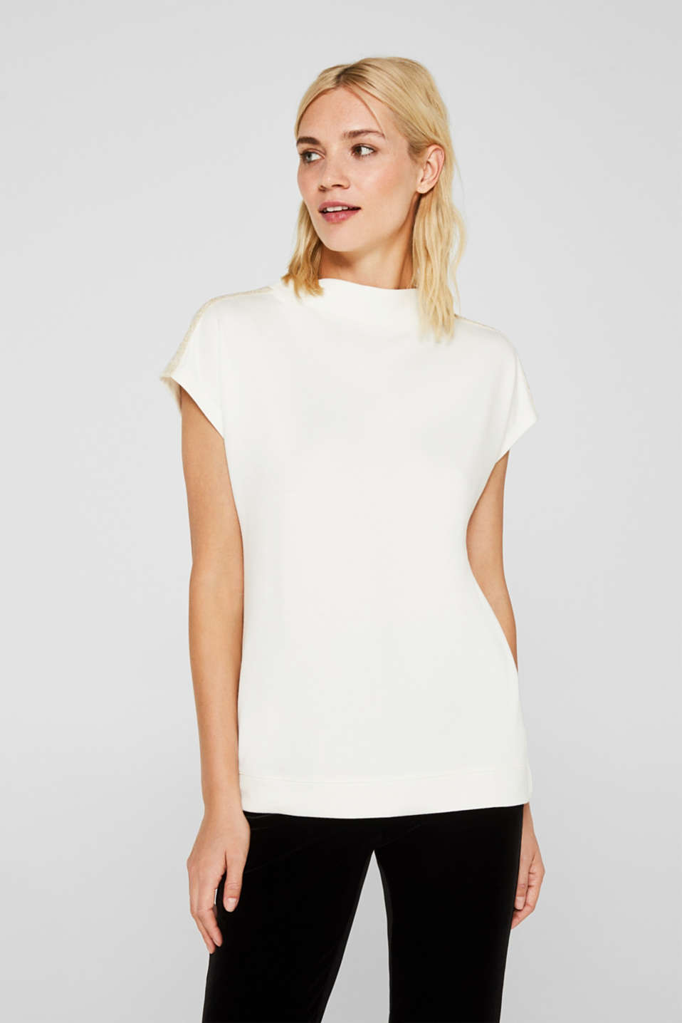 Esprit - Stretch top with glittering tape