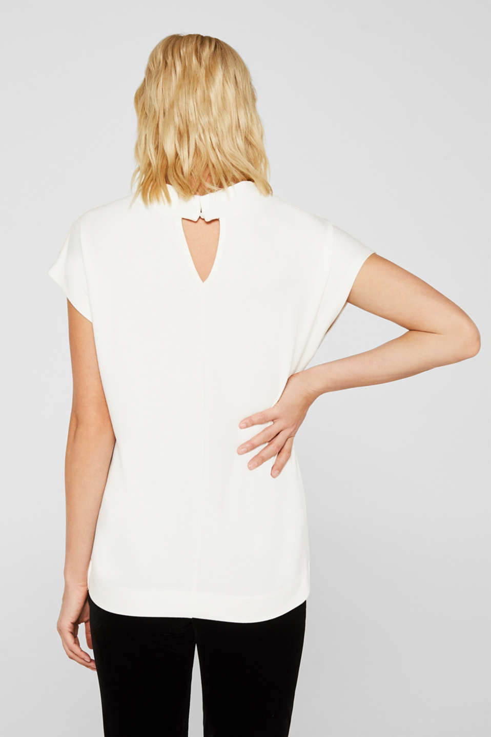 Stretch top with glittering tape, OFF WHITE, detail image number 2