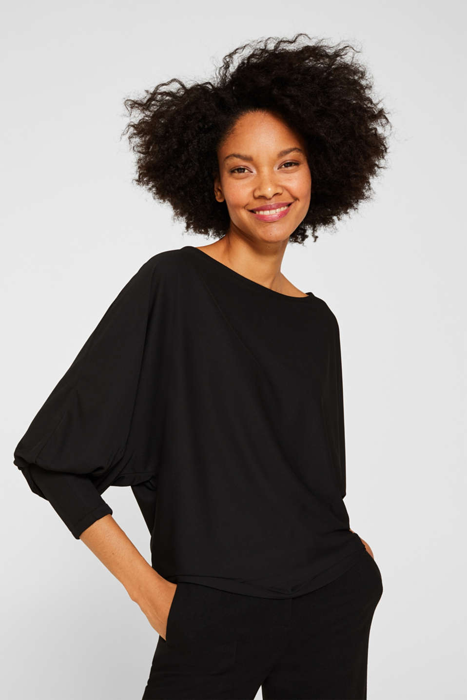 Long sleeve top with batwing sleeves, BLACK, detail image number 0