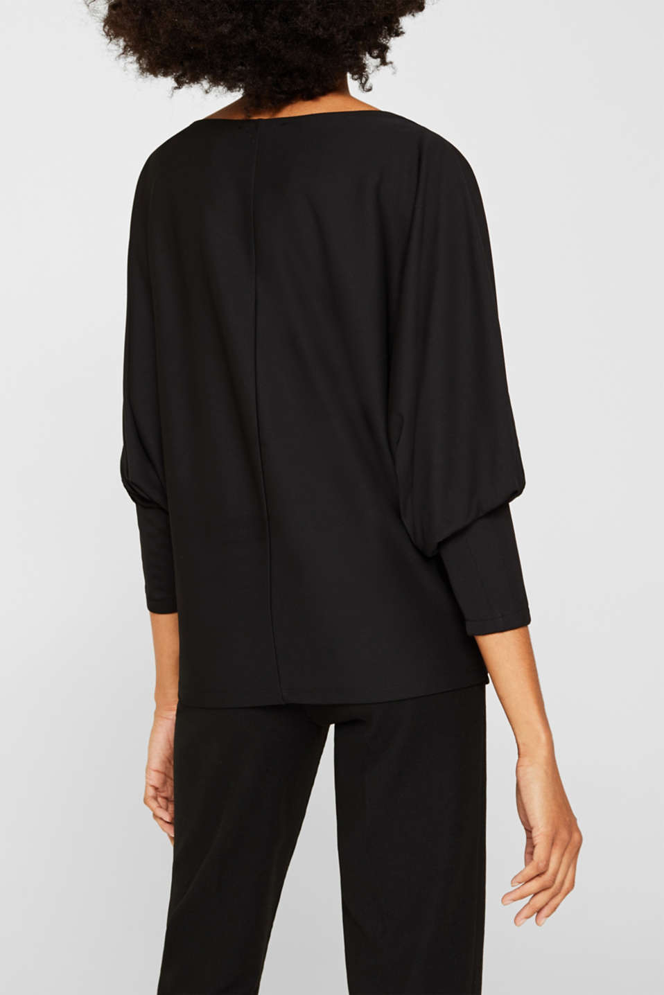 Long sleeve top with batwing sleeves, BLACK, detail image number 3