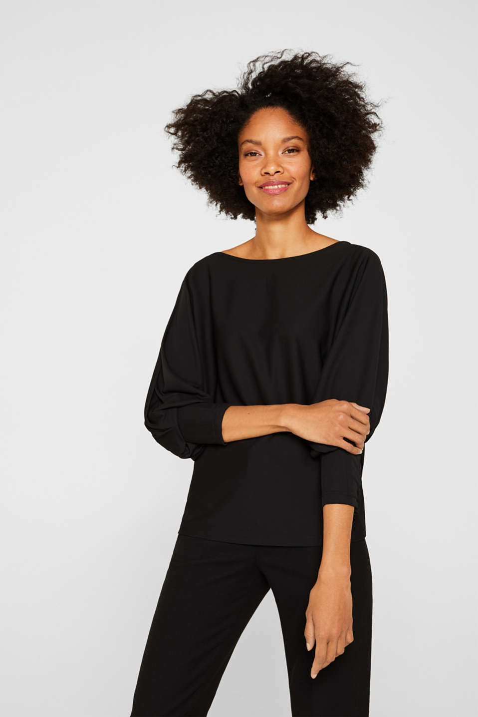 Long sleeve top with batwing sleeves, BLACK, detail image number 5