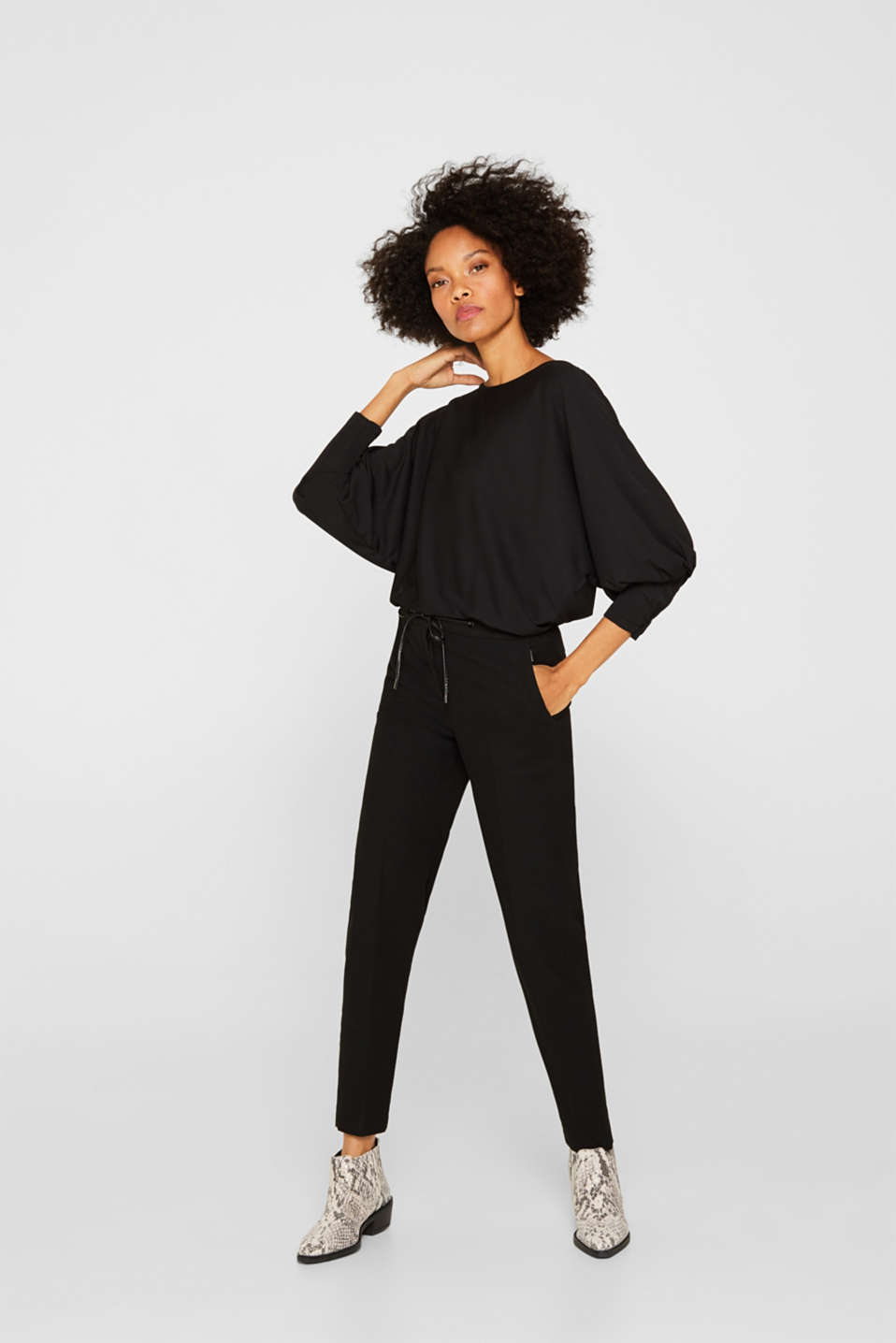 Long sleeve top with batwing sleeves, BLACK, detail image number 1