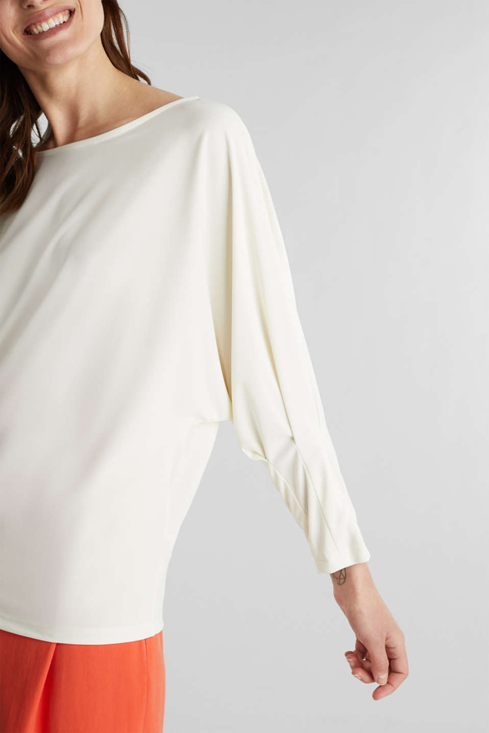 Long sleeve top with batwing sleeves, OFF WHITE, detail image number 2