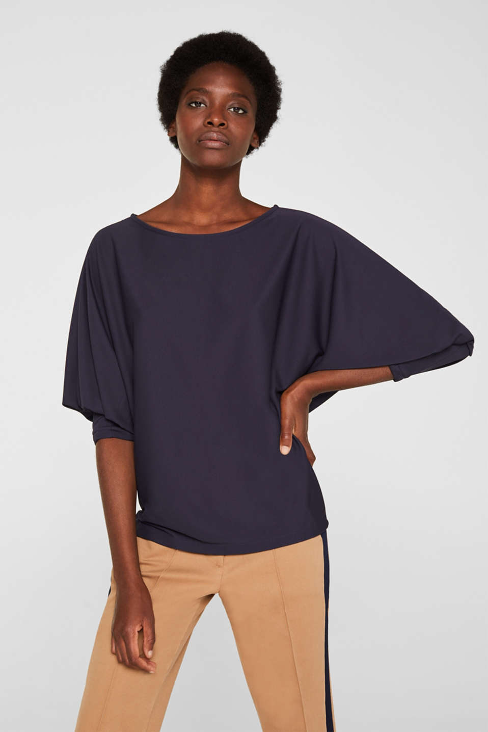 Long sleeve top with batwing sleeves, NAVY, detail image number 0
