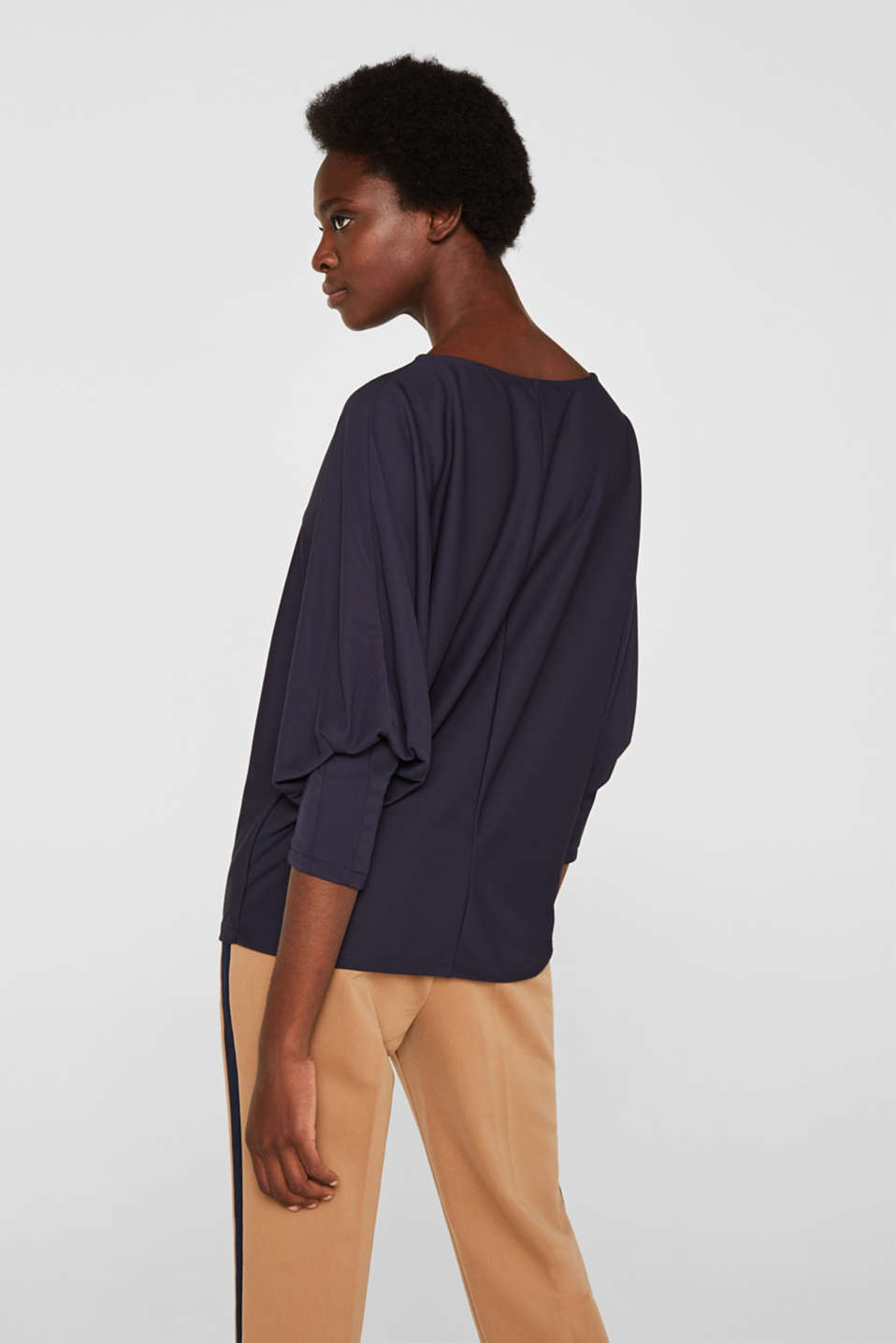 Long sleeve top with batwing sleeves, NAVY, detail image number 3
