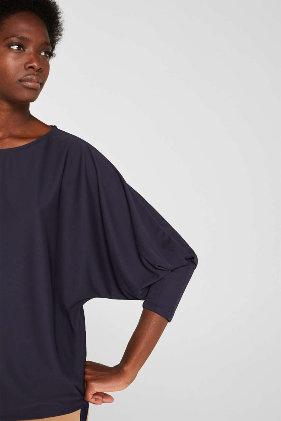 Long sleeve top with batwing sleeves, NAVY, detail image number 2
