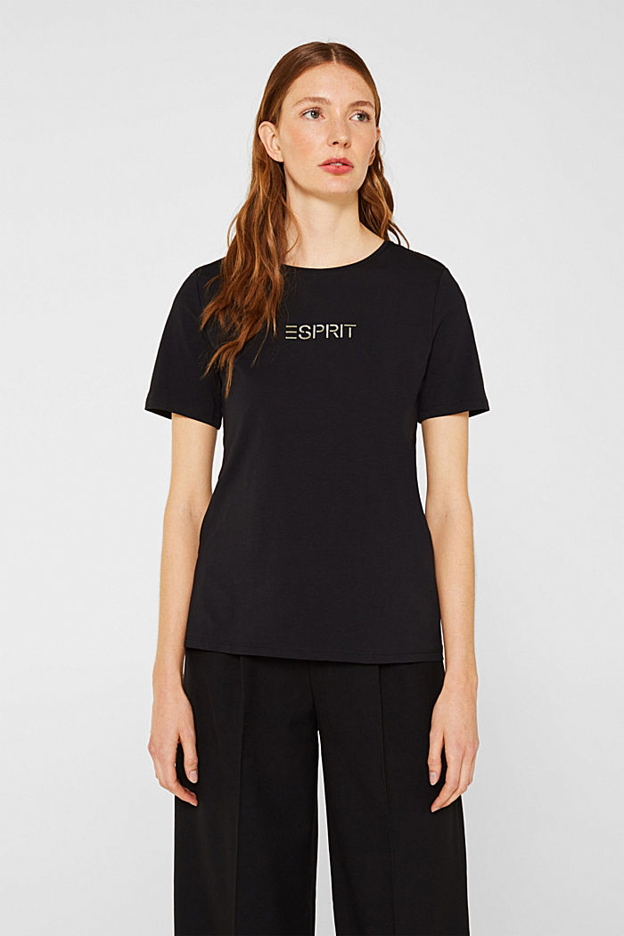 Stretch T-shirt with a shiny logo, BLACK, detail image number 0