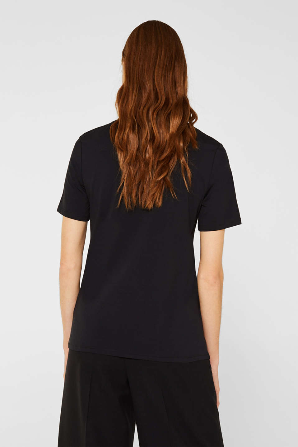 Stretch T-shirt with a shiny logo, BLACK, detail image number 3
