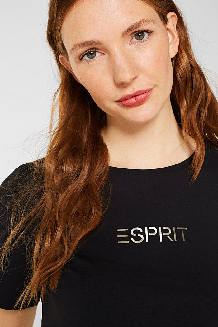 Stretch T-shirt with a shiny logo